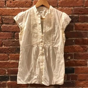 Smocked beige banana republic blouse size small